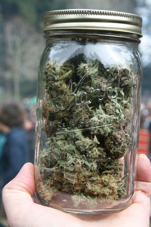 2 ounces of weed in a jar